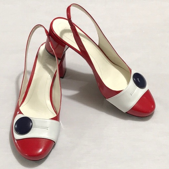 1c450d28a7bee FRANCO SARTO RED, WHITE, & BLUE SLINGBACK HEELS